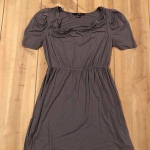 XXI Drape Neck Dress Size M Gray Short Sleeve DD12